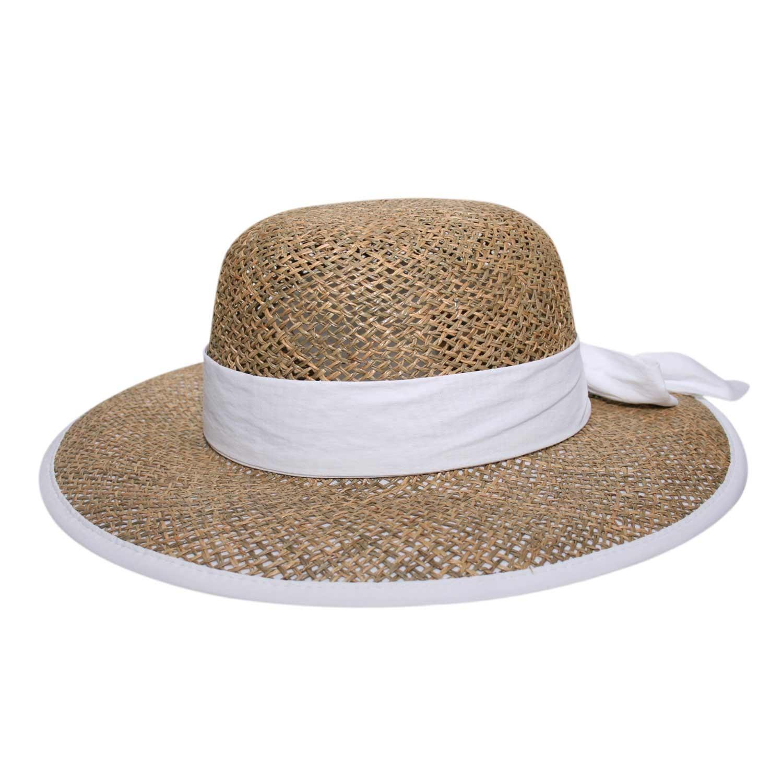 Chapéu Feminino Amarílis Fita Branca - Proteção Solar UV