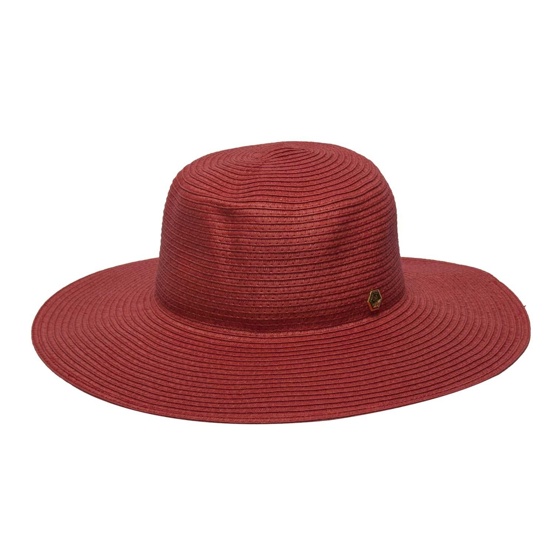 chapeu praia feminino floppy vermelho verao