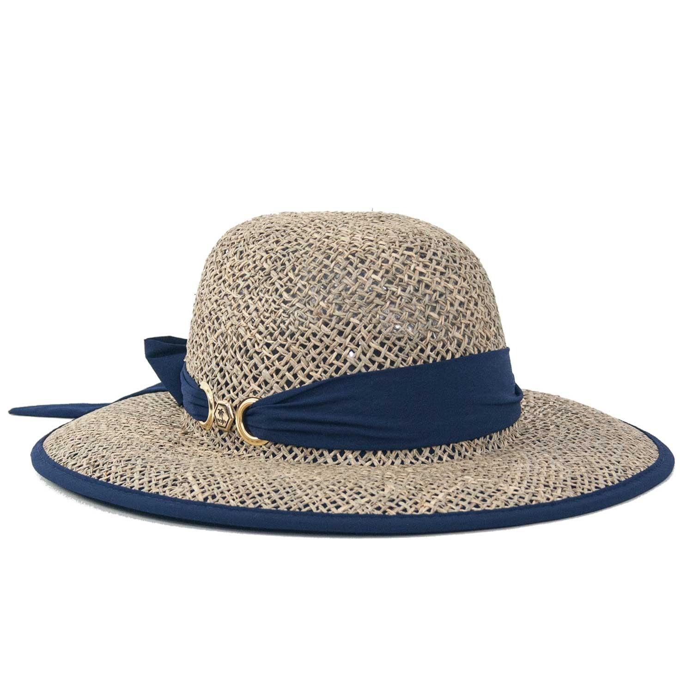 Chapéu de Praia Feminino Proteção UV Amarilis Azul Marinho