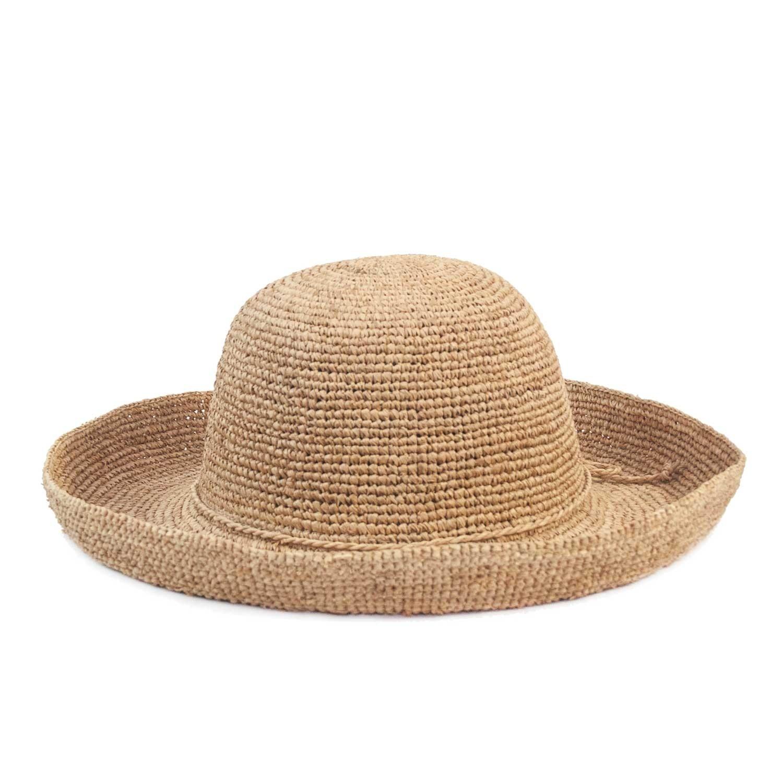 Chapéu Feminino Dobrável Praia Rafia Crochet