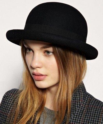 Chapéu coco feminino preto