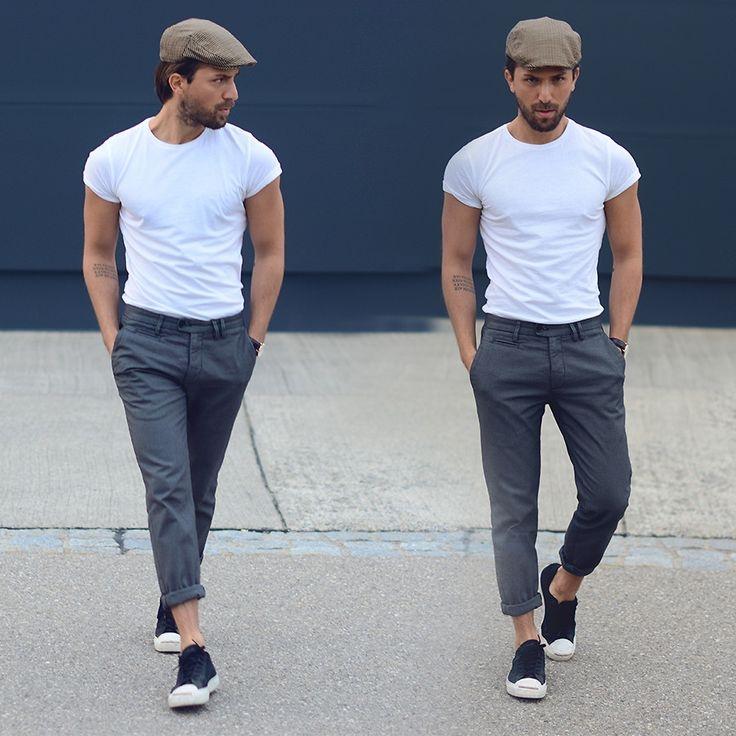 Rapaz de boina cinza e camisa branca